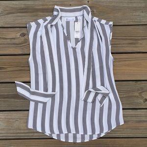 NWT NY&C 7th Avenue black white stripe Blouse